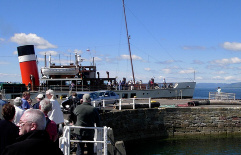 the waverley paddle steamer at largs pier